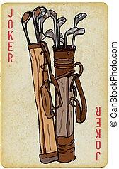 golfen, karte, -, kreuz, joker, freehand, spielende , bag., zeichnung