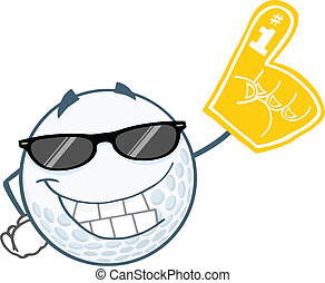 golfen, lächeln, kugel, sonnenbrille