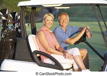golfen, paar, kinderwagen, kurs, reiten, älter