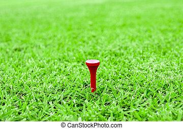 golfen, pflöcke, auf, a, tee, in, grünes gras, kurs