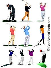 golfen, players., vektor, abbildung