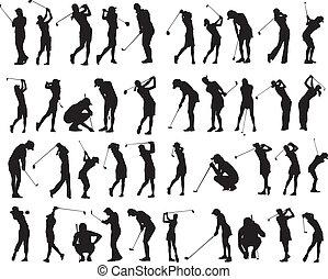golfen, posen, silhouette, 40, weibliche