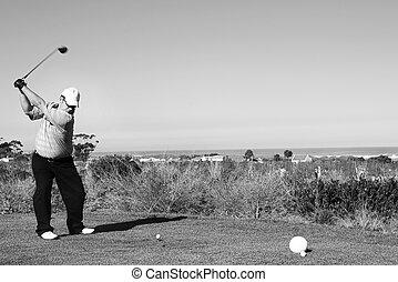 Golfer #59 - A golfer playing golf on a green. Movement on...