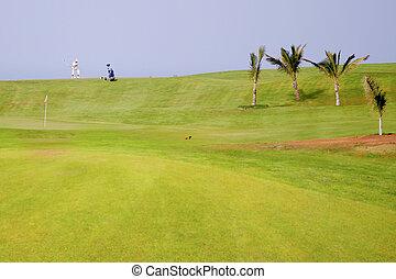 Golfer at exotic destination