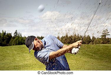 golfer, bola, golfe, tiroteio