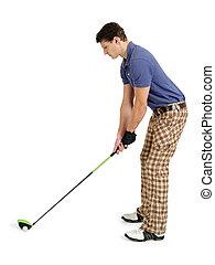 golfer, branco, fundo