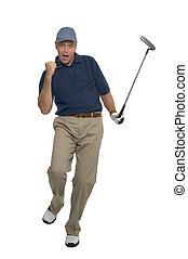 Golfer celebration - Golfer celebrating after sinking a...