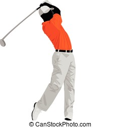 Golfer - Illustration of a golfer isolated on white...