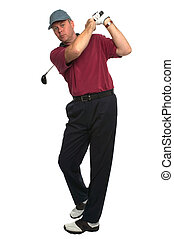 Golfer drive swing - Shot of a golfer\'s follow through...