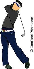 golfer, finder, bold, hos, jern, club.