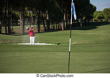golfer, finder, en, sand bunker, skud