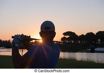 golfer, finder, langt skud