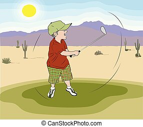 Golfer Funny with Plaid Shorts in Desert