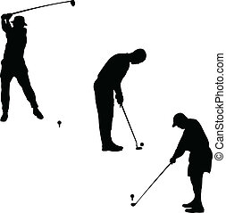golfer group vector silhouettes
