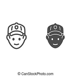 Golfer head line and solid icon, outdoor sports and recreation concept, golf player avatar sign on white background, Golfer icon in outline style for mobile concept and web design. Vector graphics.