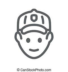 Golfer head line icon, outdoor sports and recreation concept, golf player avatar sign on white background, Golfer icon in outline style for mobile concept and web design. Vector graphics.