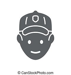 Golfer head solid icon, outdoor sports and recreation concept, golf player avatar sign on white background, Golfer icon in glyph style for mobile concept and web design. Vector graphics.