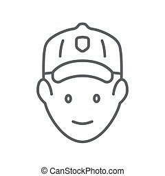 Golfer head thin line icon, outdoor sports and recreation concept, golf player avatar sign on white background, Golfer icon in outline style for mobile concept and web design. Vector graphics.