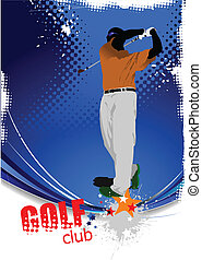 Golfer hitting ball with iron club.