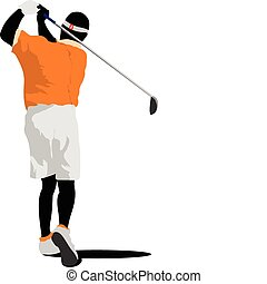 Golfer hitting ball with iron club.