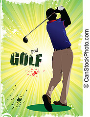 Golfer hitting ball with iron club