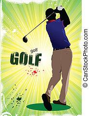 Golfer hitting ball with iron club
