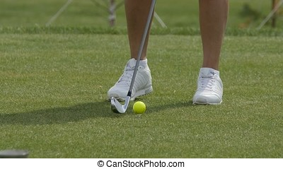 Golfer Hitting Golf Shot with Club on the Course. Hit the ball Golf