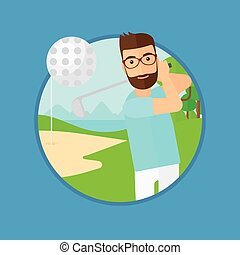 Golfer hitting the ball.