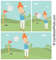 Golfer hitting the ball vector illustration.