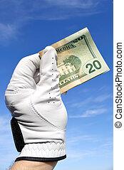 Golfer Holding a Twenty Dollar Bill - Golfer Wearing Golf ...