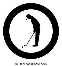 Golfer icon black color in circle