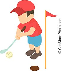 Golfer icon, isometric 3d style
