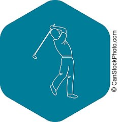 Golfer icon, outline style