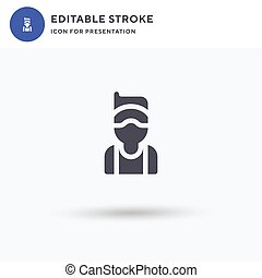 Golfer icon vector, filled flat sign, solid pictogram isolated on white, logo illustration. Golfer icon for presentation.