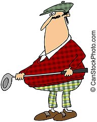Golfer in a plaid outfit - This illustration depicts a ...