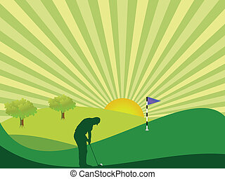 Golfer silhouette in green rolling countryside with bright sun and sunburst sky