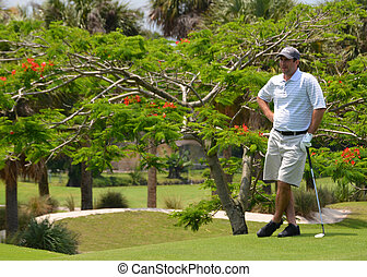 Golfer in thought