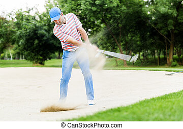 golfer, indtagelse, en, bunker skød