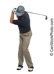 Golfer iron shot back swing - Front view of a golfer during...