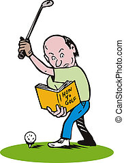 Golfer Learning to Play - Illustration of golfer learning to...