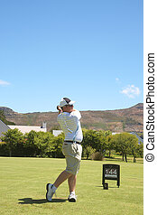 golfer, ligado, a, fairway