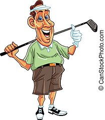 Golfer Man Cartoon Vector