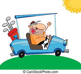 Golfer Man Driving A Cart - Happy Golfer Drives Golf Cart A...