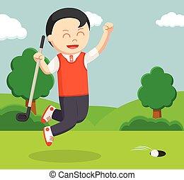 golfer man happy making score