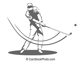Illustration of a man swinging a golf club.