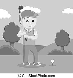 Golfer man prepare to hitting ball