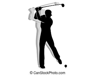 Golfer man silhouette isolated on white background