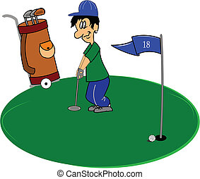 determined looking golfer trying to make putt on green vector