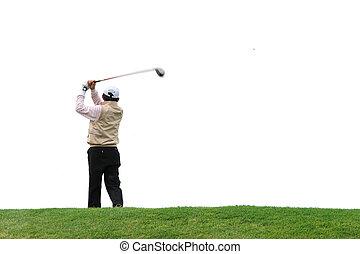 Golfer over white background