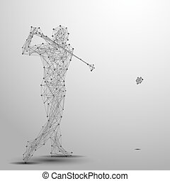 golfer poly gray - Abstract golfer in motion with cybernetic...